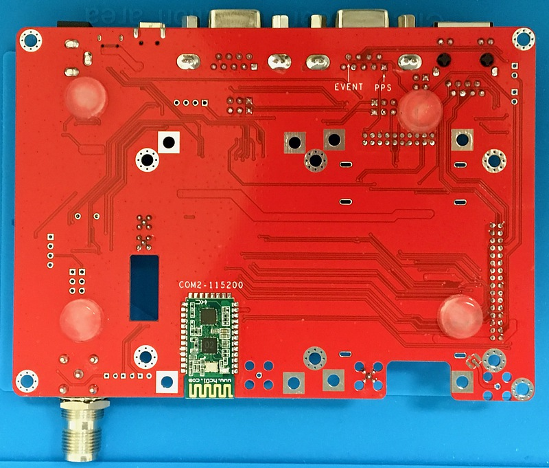 Bottom view of a GNSS receiver development board
